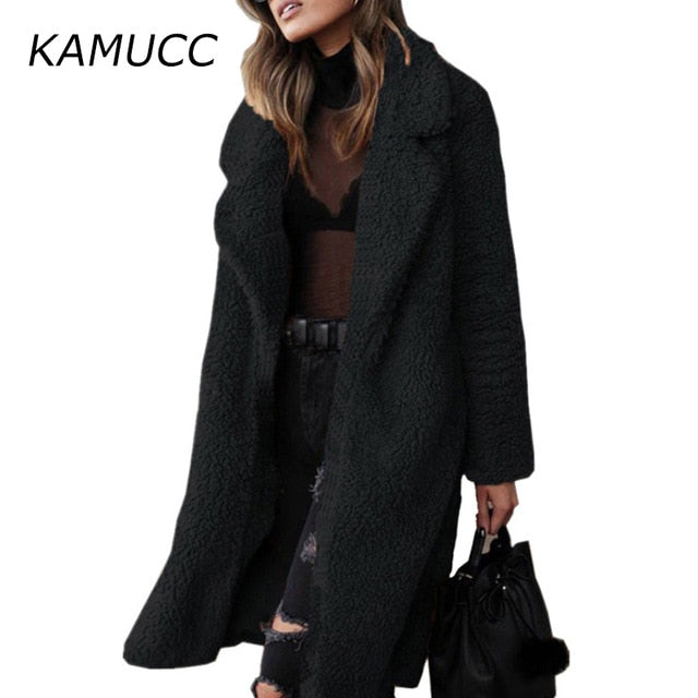 2020 Autumn Winter Plush Coat Women's Long Overcoat