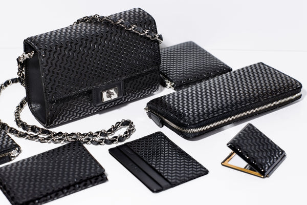 Zipped Long Wallet  Chevron S  Black x Black