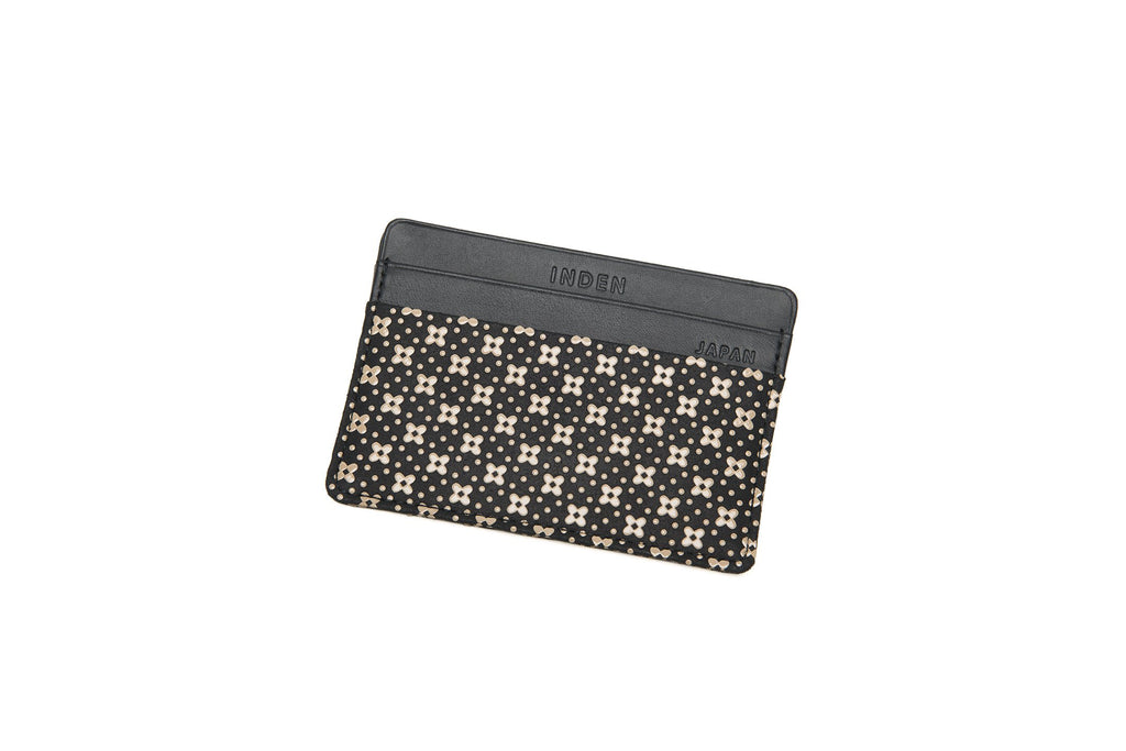 Card Case  Flower Lattice  Black x Ivory