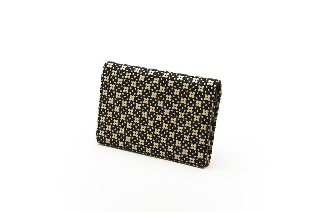 Business Card Case   Flower Lattice  Black x Ivory