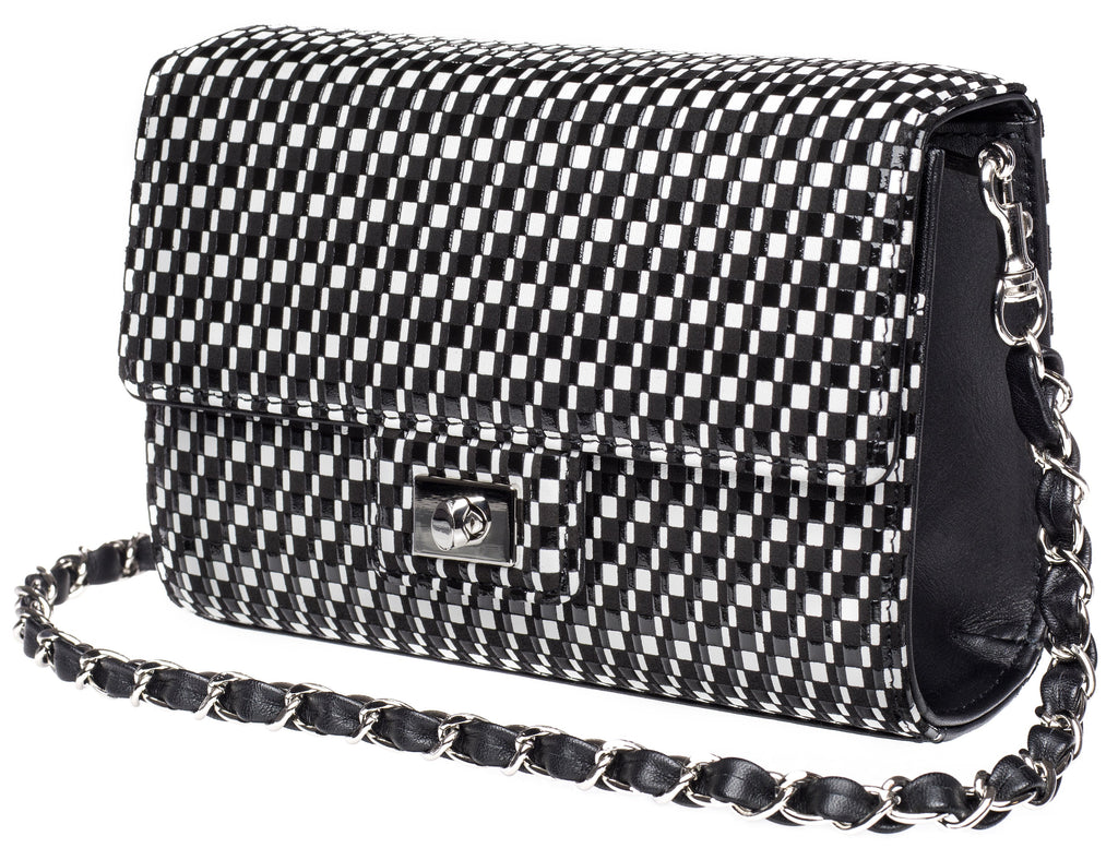 Cross Body Bag Rectangle   Rippleal  Black x White