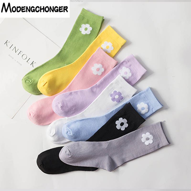 Fashion Casual Ladies Socks Short Flower Pattern Classic Cotton Tube In College Sporty Style Leisure Women's Socks Hot Sale