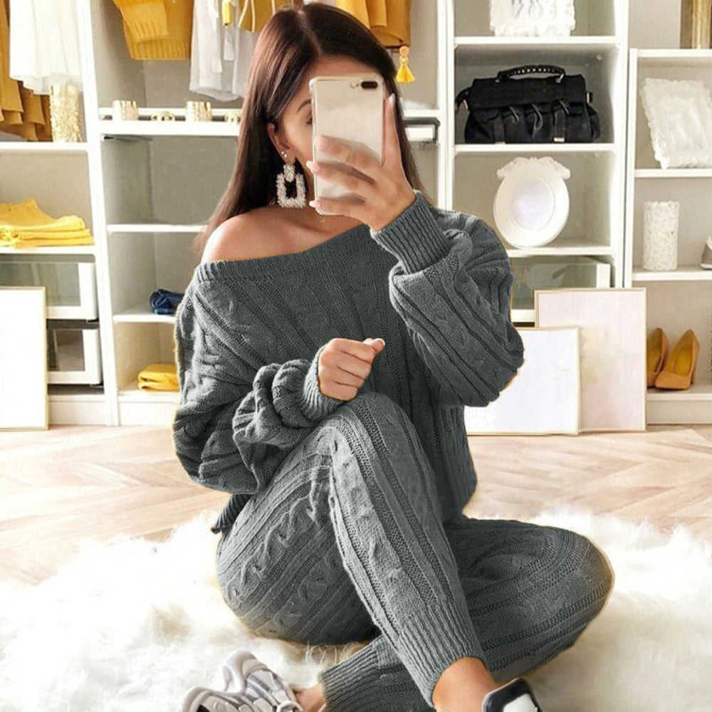 Laamei 2019 Women's Casual Set Knit 2 Piece Outfit Long Sleeve Sweater Pullover Crop Top And Shorts Pants Jumpsuit Skirt Set