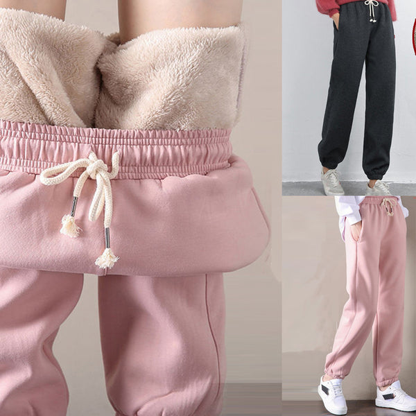 Thick Lambskin Cashmere Women Pants 2019 Winter Warm Harem Pants Casual Elastic Waist Loose Sweatpants Cotton Trousers #35