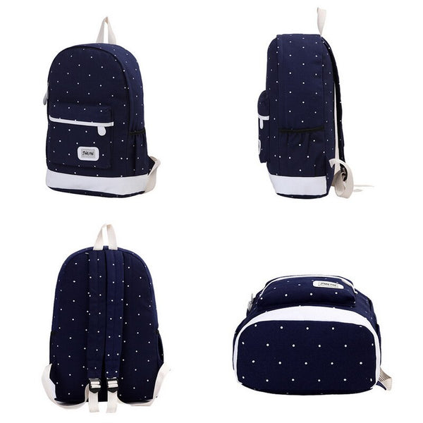 LOOZYKIT 3pcs/Set Dot Canvas Printing Backpack Women School Back Bags For Teenage Travel Backpacks Female Schoolbag Backpack