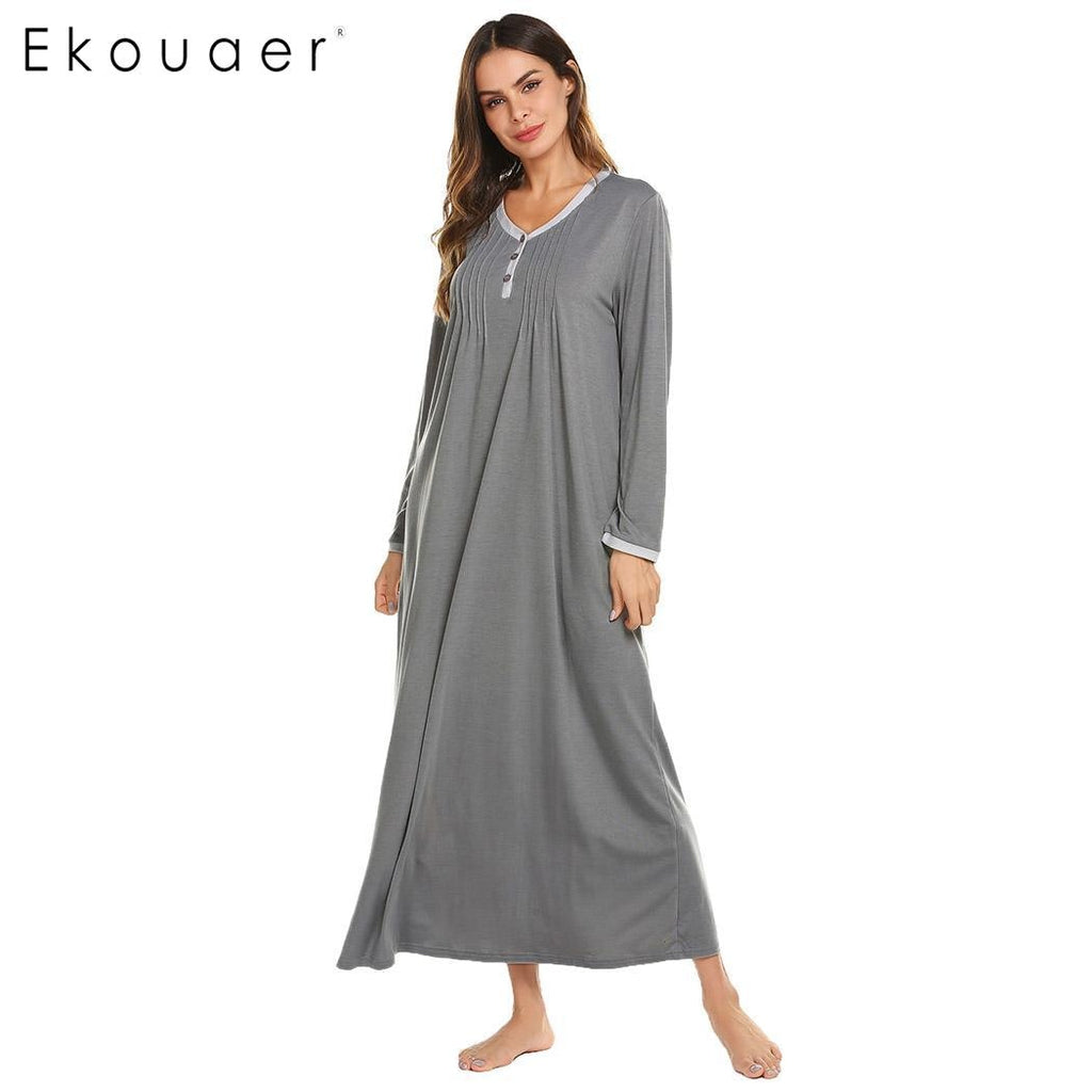 Ekouaer Long Chemise Nightgown Sleep Lounge Dress Sleepwear Women Casual O-Neck Long Sleeve Front Pleated Nightdress Sleepshirts