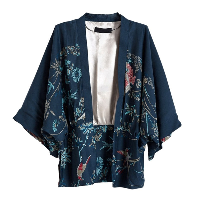New Harajuku Cardigan Summer Women Japanese Kimono Phoenix Printed Bat Sleeve Loose Cardigan Sun Protection Blouse W1
