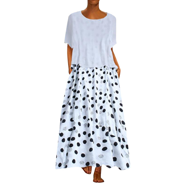 KLV 2019 Women Vintage Dot Print Patchwork O-Neck Two Pieces Loose  Maxi Dress free shipping D4