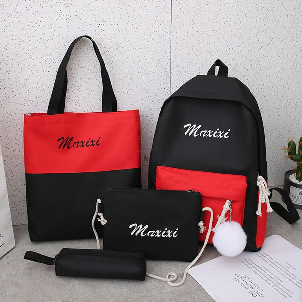 Litthing 4Pcs/set Women School Backpacks Schoolbag For Teenagers Girls Student Book Bag Boys Satchel Bolsas Mochilas Sac A Dos