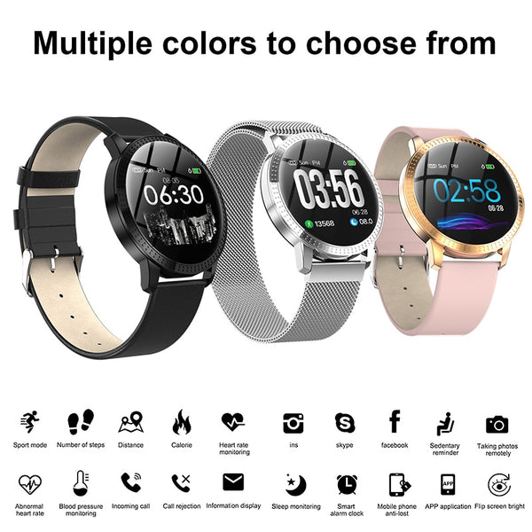 Elegant Smart Watch Women 1.22-inch Large Screen Waterproof IP67 Heart Rate Blood Pressure Tracker Watch for iPhone 7/Xiaomi