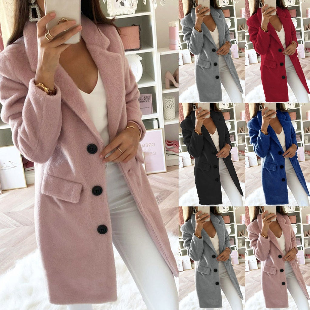 Woman Long Wool Coat Elegant Blend Coats Slim  Female Long Coat Outerwear Jacket Dropshipping size Leisure Work clothes  free sh