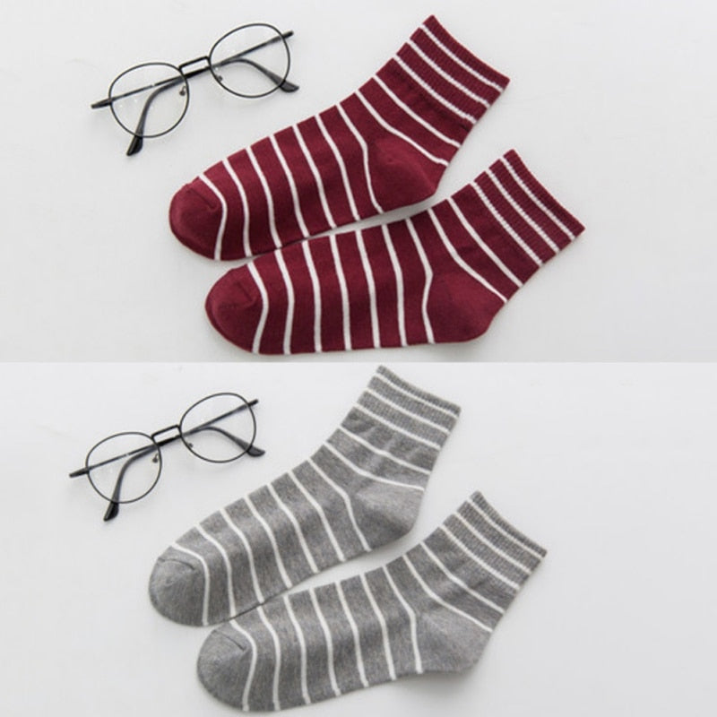 Preppy Style Cotton Women's Breathable Stocks Autumn And Winter lady Simple ALL-Matching New Striped Pattern Socks