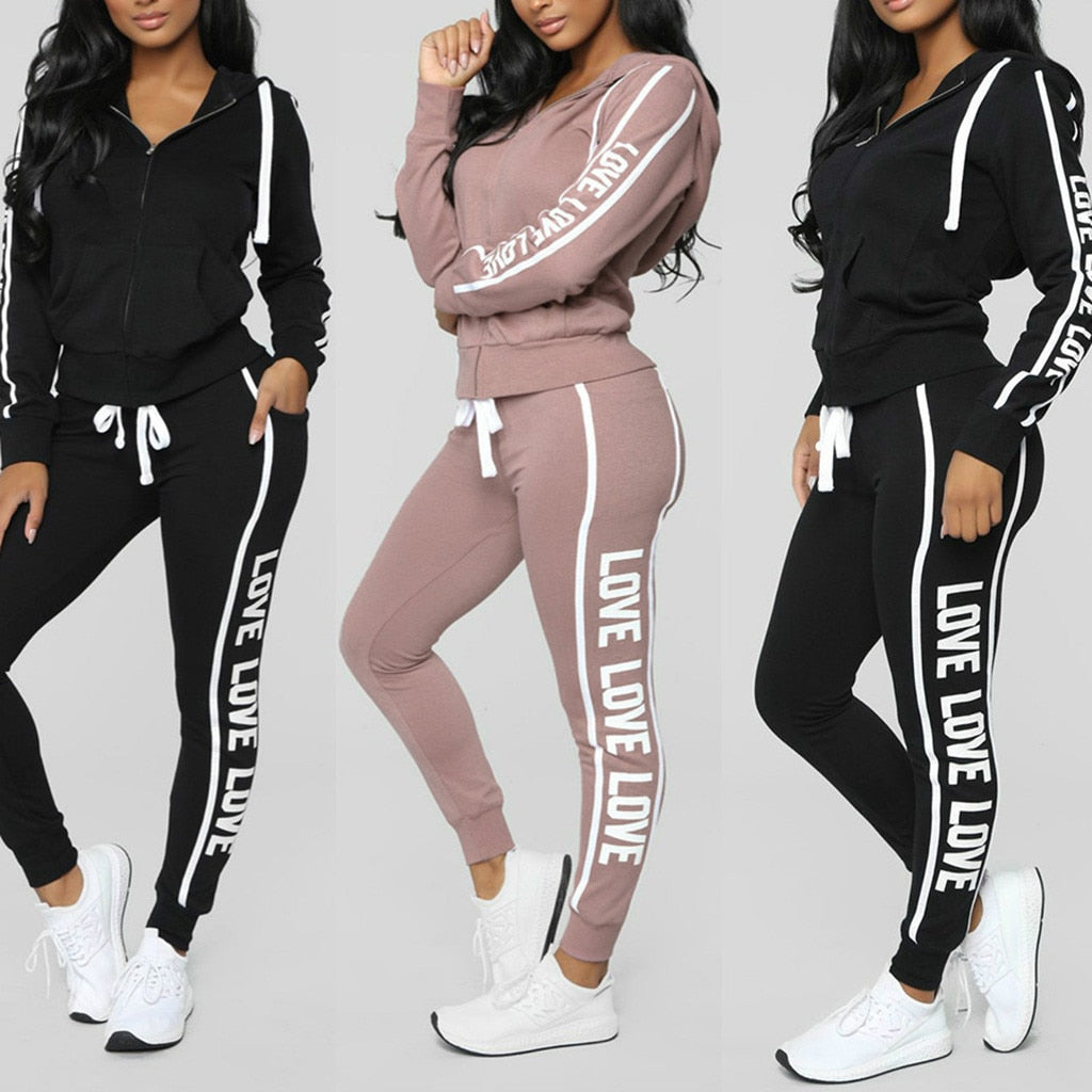 Tracksuit women 2 piece set women's sweat suit костюм женский костюмы Solid Color Hooded Long sleeve zipper letter Sweatshirt #3