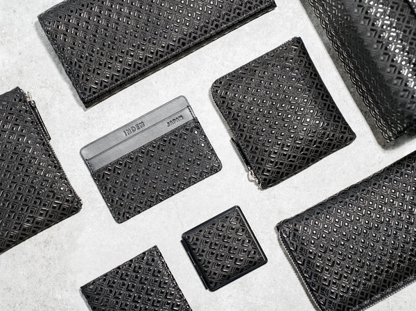 Zipped Long Wallet  Diamond Frame  Black x Black