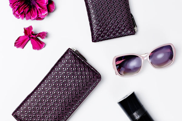 Zipped Long Wallet  Diamond Frame  Black x Purple