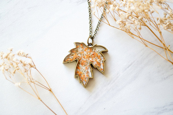 Real Pressed Flower and Resin Necklace Maple Leaf in Orange and White, Fall Florals, Fall Finds
