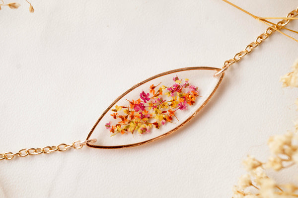 Real Pressed Flowers and Resin Bracelet, Rose Gold in Red Orange Yellow Mix