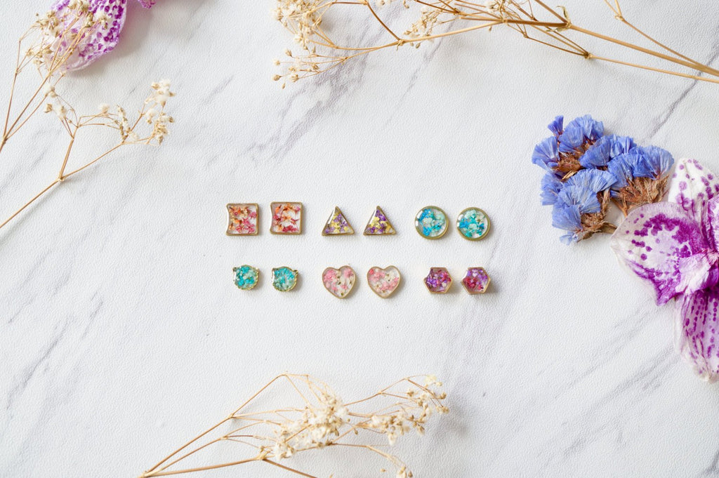 Real Pressed Flowers and Resin Hexagon Gold Stud Earrings in Pastel Mix