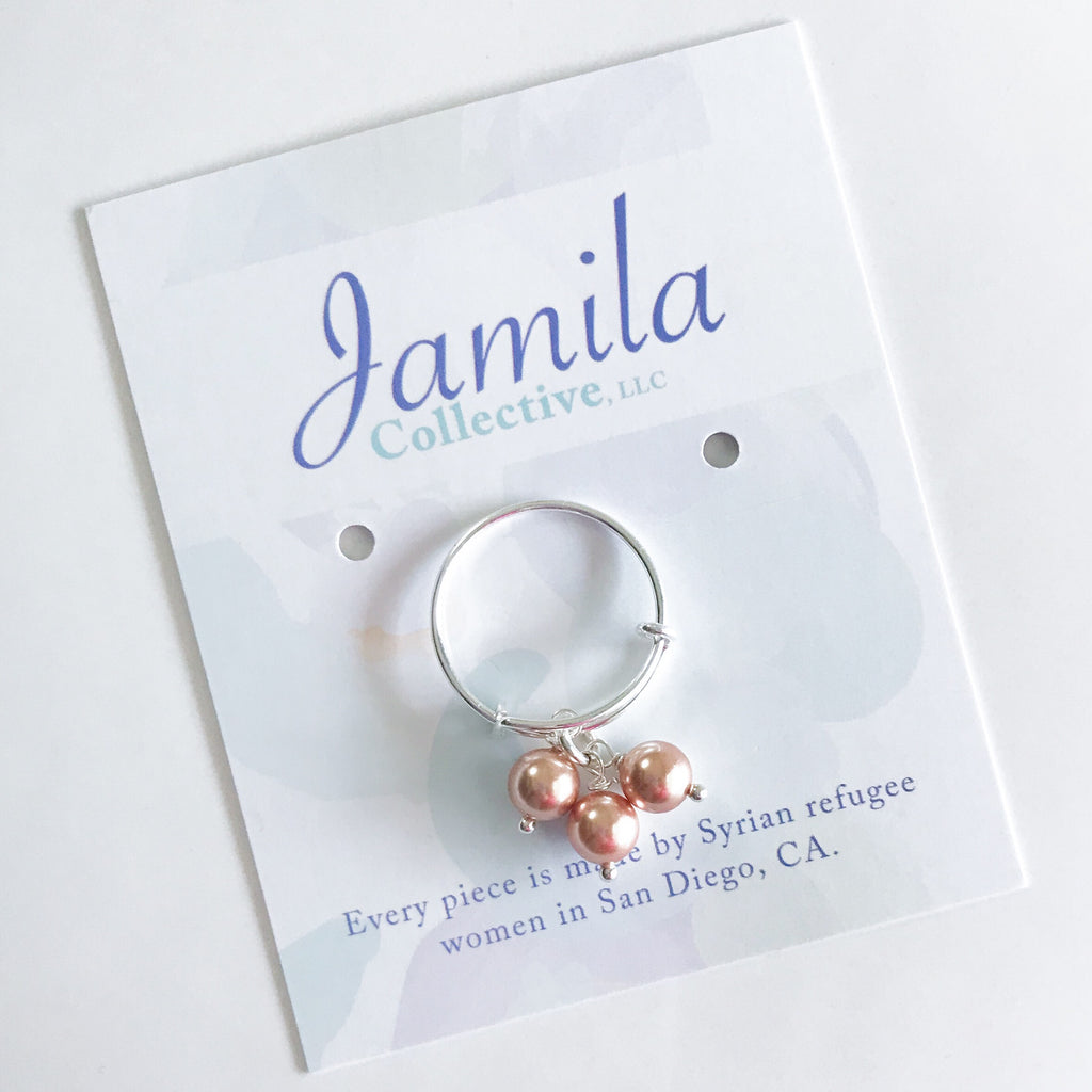Anaam Adjustable Ring - Rose Gold Pearl