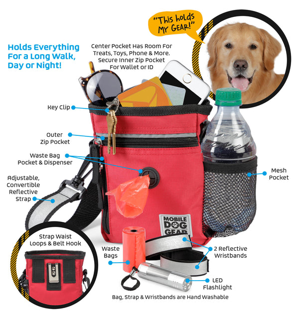 Bundle: ODG Day/Night Walking Bag (Black), ODG Rolling Week Away Bag TM, ODG Dine Away Set TM (Med/Lg Dogs) (Black) and ODG Weekender Backpack TM (Black)