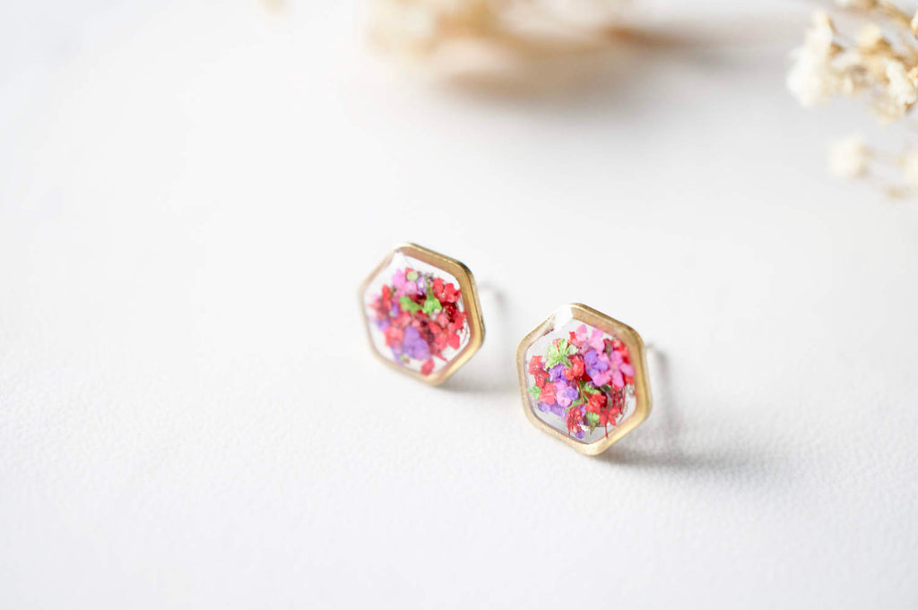 Real Pressed Flowers and Resin Stud Earrings, Gold Hexagon in Neon Mix
