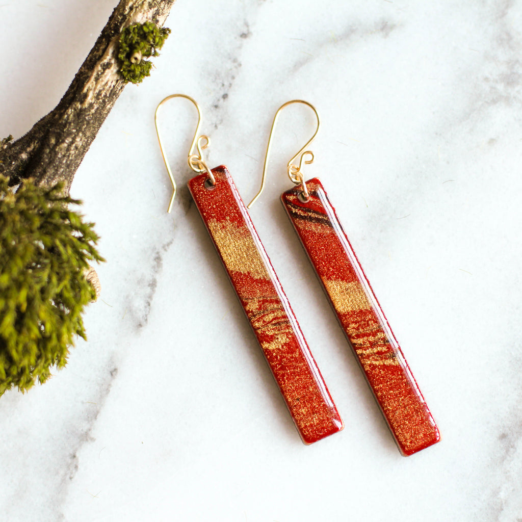 Red & Gold Marble Bar Earrings