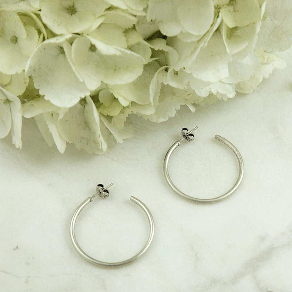 SILVERTONE OXIDIZED HOOP EARRINGS