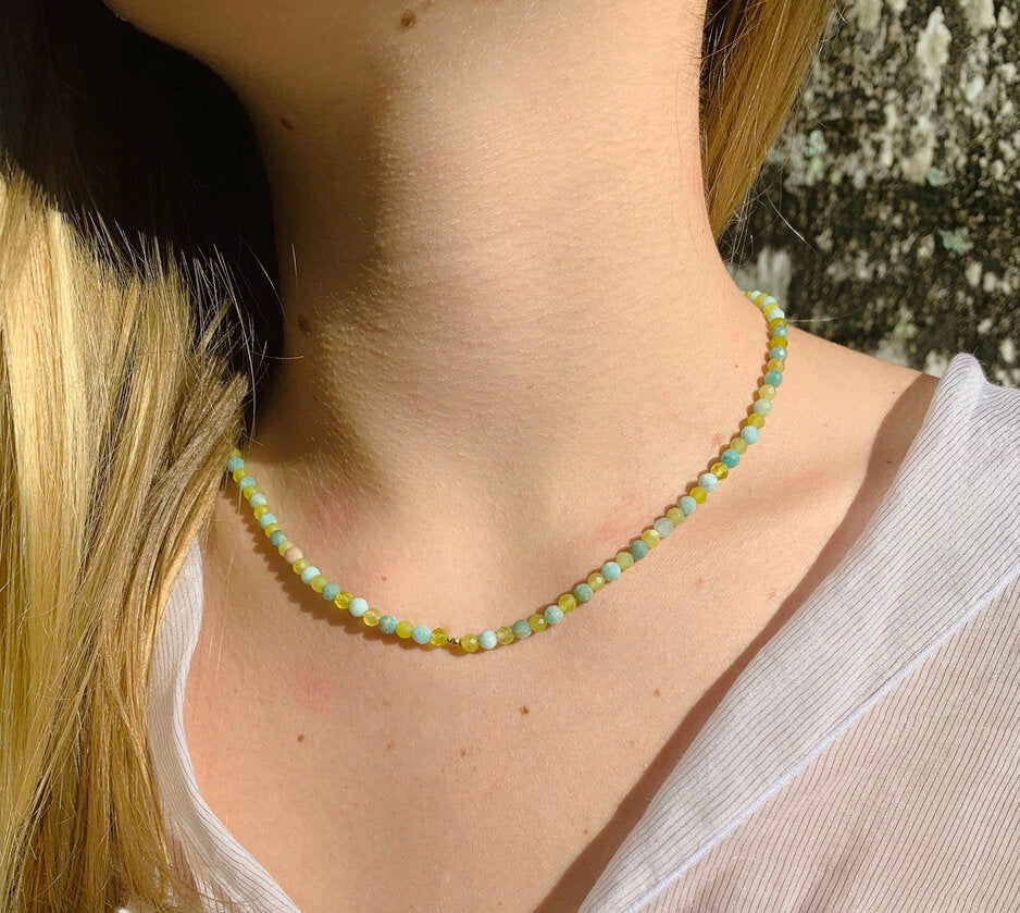 Green Opal & Emerald Necklace with 18 Karat Gold bead