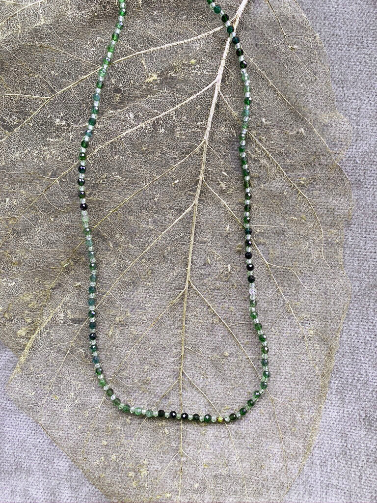 Green Tourmaline & Peridot Necklace with 18 Karat Gold Bead