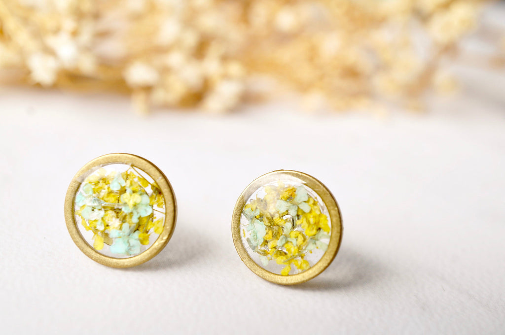 Real Pressed Flowers and Resin Stud Earrings, Gold Circle in Mint and Yellow