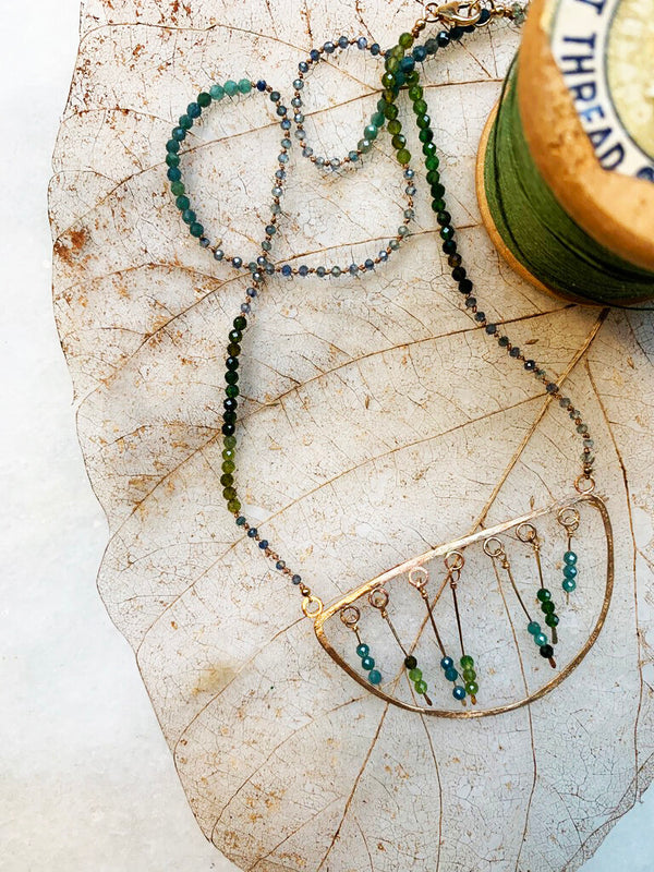 Half Moon Blue/Green Tourmaline Necklace 20-22