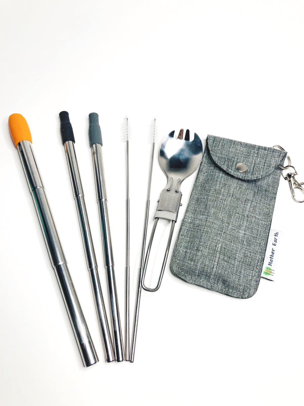 Collapsible Reusable Boba Straw 12mm & Straw 8mm + Foldable Spork Set with Travel Bag - Customizable. Boba | Bubble Tea and Coffee Straw.