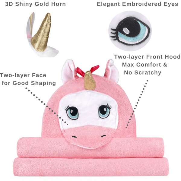 Unicorn Bamboo Baby Hooded Towel, Pink, for Infant to Toddler