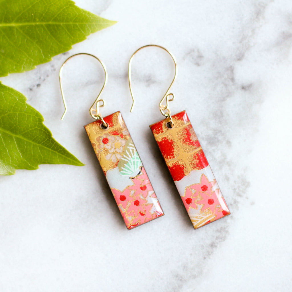 Pink, Red & Aqua Earrings