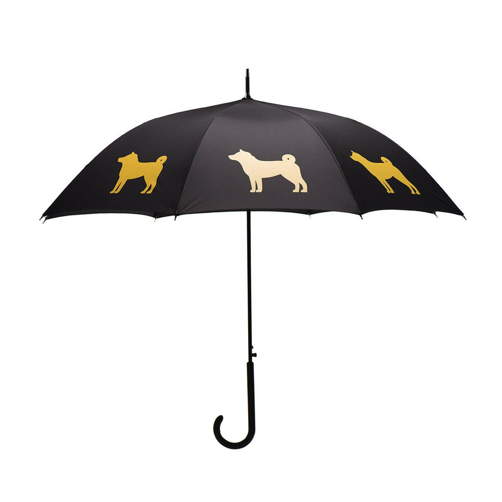 Shiba Inu Umbrella Gold on Black w/ sleeve and shoulder strap