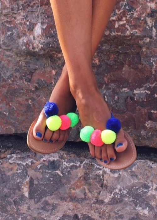 sandals multi color pompom oh my collection