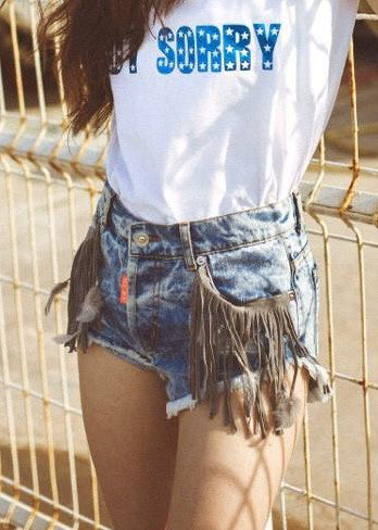 Denim shorts suede fringe