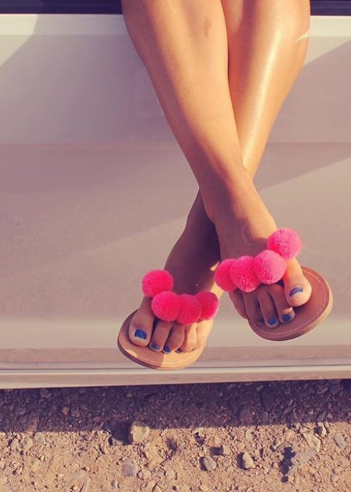 pompom sandals coral oh my collection