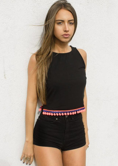black croptop coral pompom oh my collection