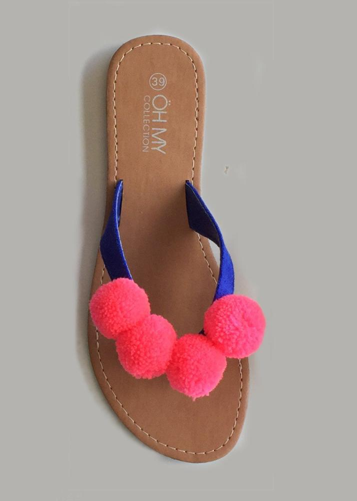 detail coral pompom sandals oh my collection