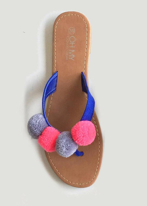 detail pompom sandals oh my collection