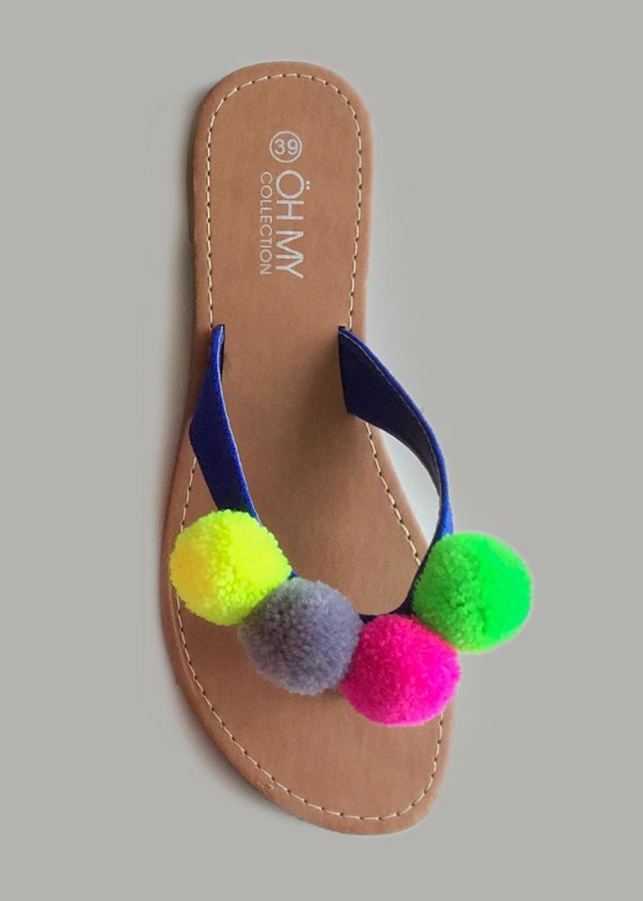 sandals multicolor pompom neon