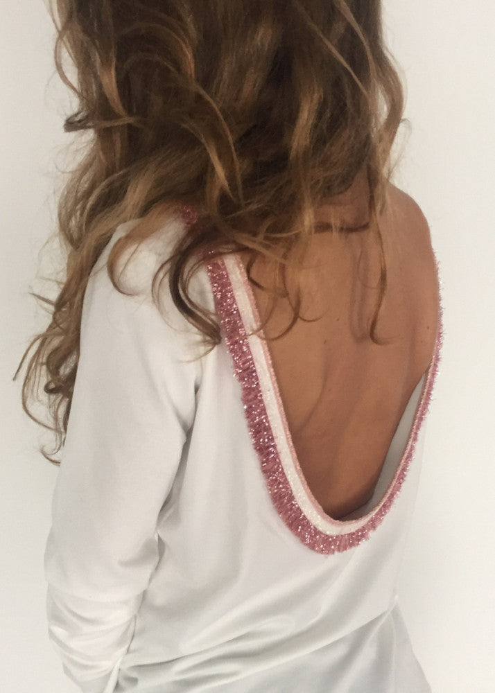 shirt open back pink fringe oh my collection