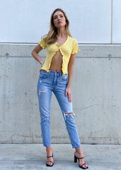 YELLOW BUTTON FRONT KNIT TOP