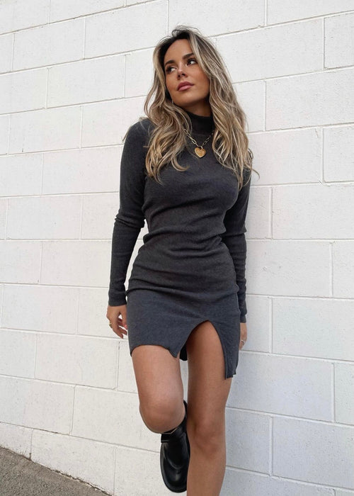 ORGANIC DARK GREY MINI DRESS