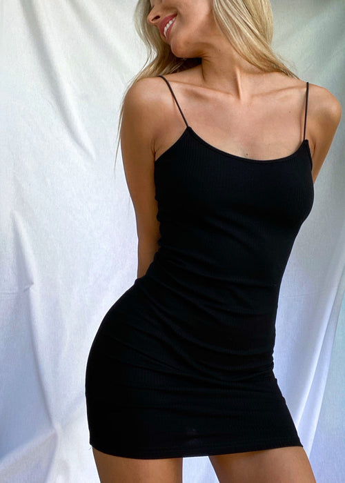 BLACK RIBBED MINI DRESS