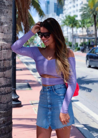 PINK NEON POMPOM BLACK CROP TOP