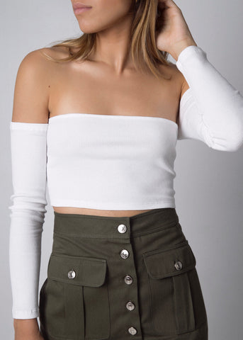 ASYMMETRIC CROP TOP GREY