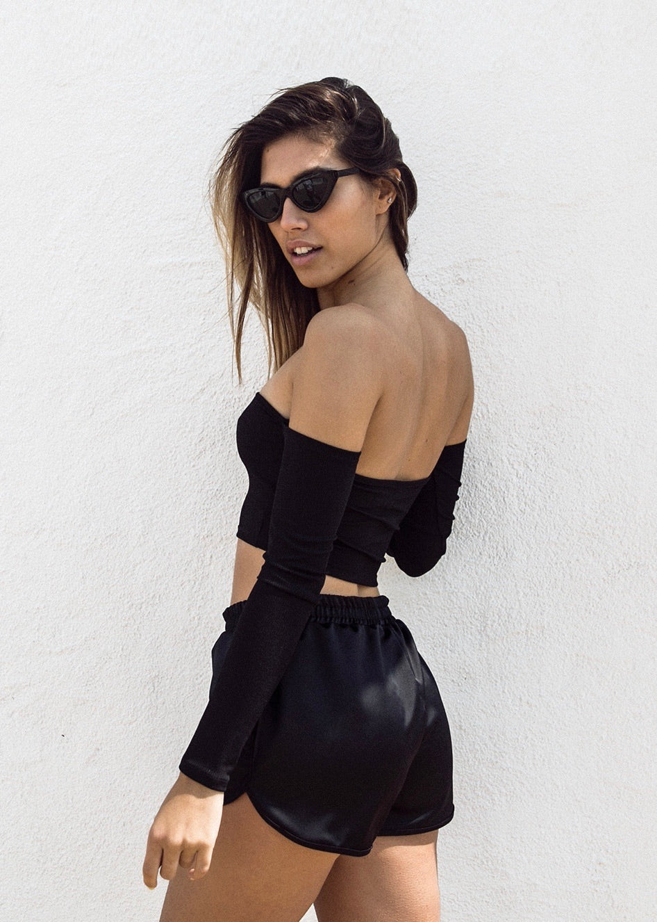 BLACK SILKY SHORTS