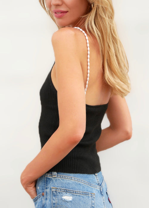 PEARL TOP IN BLACK